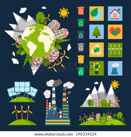 Green eco world ecology symbols set with globe recycling energy and nature icons vector illustration - stock vector