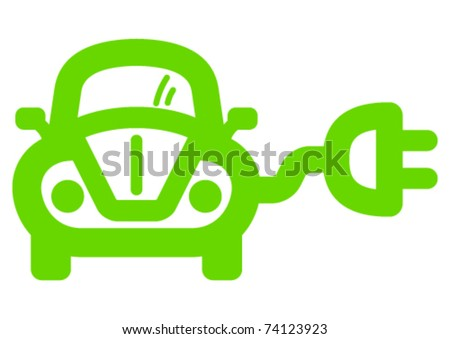 Green ecological electric car sign. - stock vector