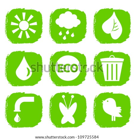 Green ecological icons set - stock vector