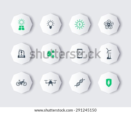 Green ecological modern technologies, modern octagon icons, vector illustration, eps10, easy to edit - stock vector
