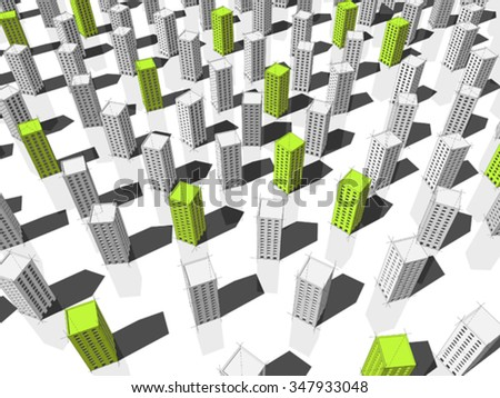 green ecological tall buildings standing out from others - stock vector