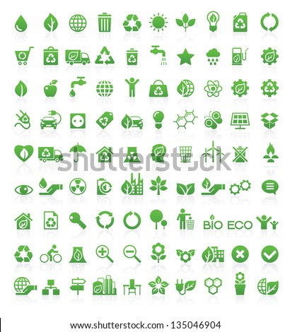 Green, Ecology and environment icon set in vector format - stock vector