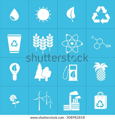 Green, Ecology and environment icon set in vector format. Design flat. - stock vector