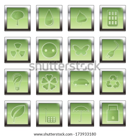 Green, Ecology and environment icon set. vector illustration - stock vector
