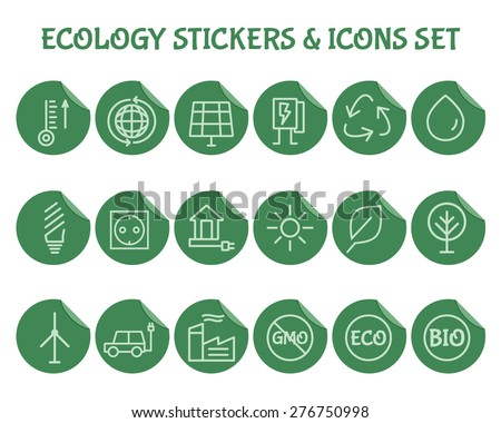 Green, Ecology and environmental protection outline icon set. Simple Thin line design. Eco technologies. On flat green stickers. Isolated on white background. Vector illustration - stock vector