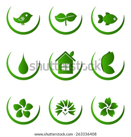 Green ecology and nature icons set - stock vector