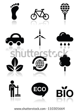Green ecology black clean icons set - stock vector