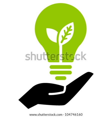 Green ecology bulb on hand, vector icon - stock vector