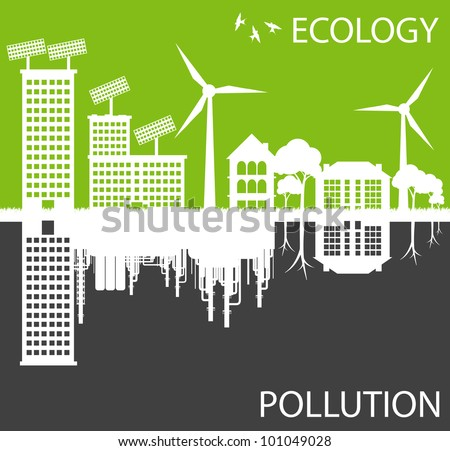 Green ecology city against pollution vector background concept - stock vector
