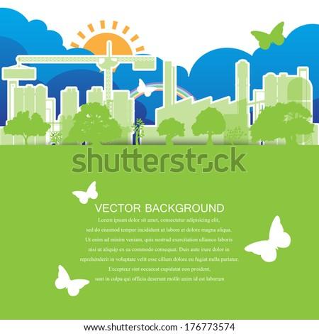Green ecology city Concept - stock vector