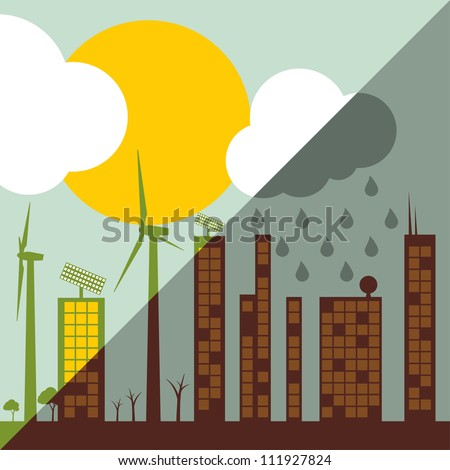 Green ecology city illustration against pollution concept background vector - stock vector