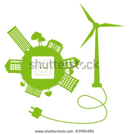 Green ecology energy planet vector concept with socket, plug and wind generator