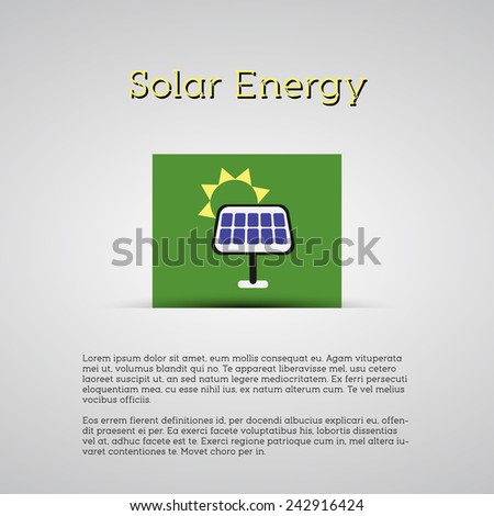 Green ecology energy planet vector concept with solar panel on green card for poster, background, template etc. Illustration. - stock vector