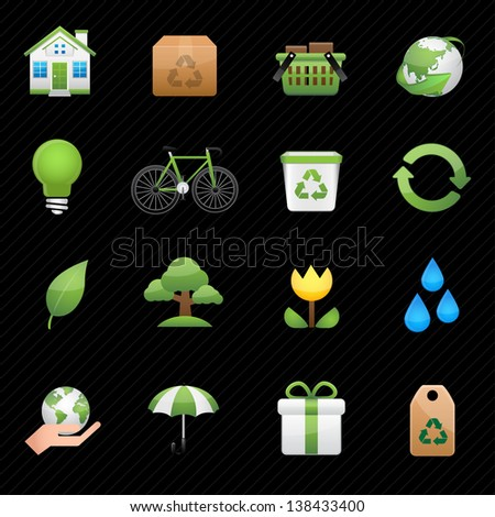 Green ecology icon and black background