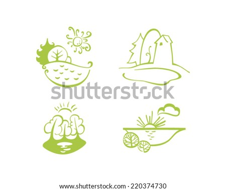 Green ecology icon set - stock vector