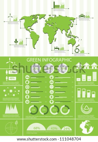 Green ecology info graphics collection, charts, world map, graphic vector elements