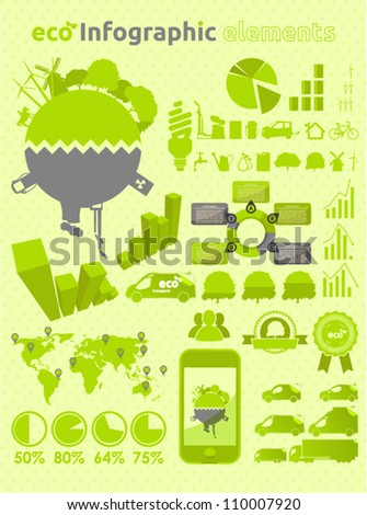 Green ecology infographic  collection - stock vector