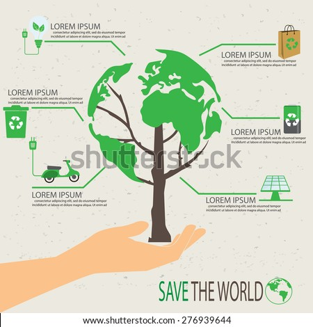 green ecology infographic element, save world and tree eco concept. used for workflow layout, banner, diagram, web design, timeline, info chart, statistic  brochure template. vector illustration - stock vector