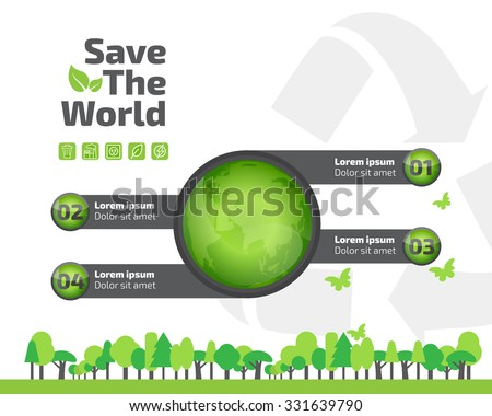 green ecology infographic element, save world and tree eco concept. vector illustration. - stock vector