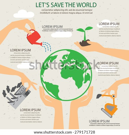 green ecology infographic elements, plant and save, Can be used for workflow layout, banner, diagram, web design,  info chart,  brochure template. vector illustration - stock vector