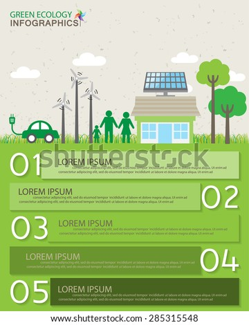 green ecology infographics elements and  background, environment friendly concept. Can be used for step options, business data, banner, web design, info chart, brochure template. vector illustration - stock vector
