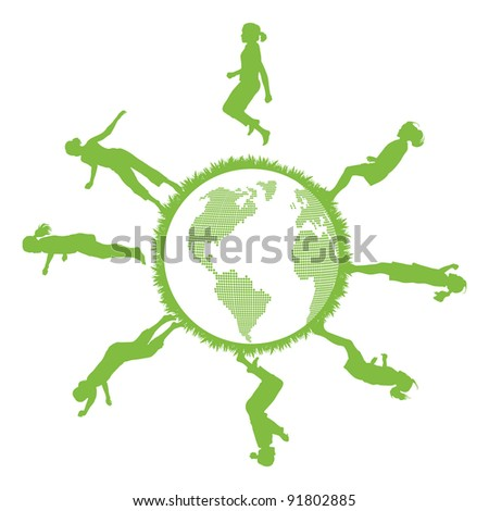 Green ecology planet concept with jumping kids
