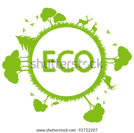 Green ecology planet vector background with trees around globe - stock vector