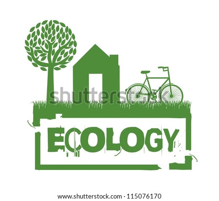 green ecology seal over white background. vector illustration - stock vector