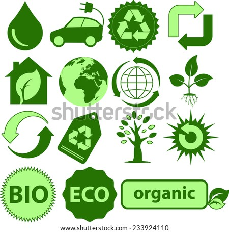 Green Ecology symbol. Vector icons with an environmental theme