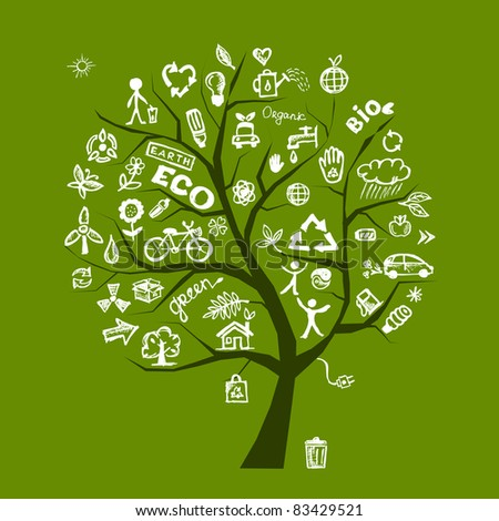 Green ecology tree concept for your design - stock vector