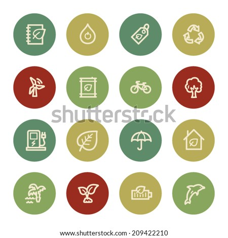Green ecology web icon set 4, vintage color - stock vector