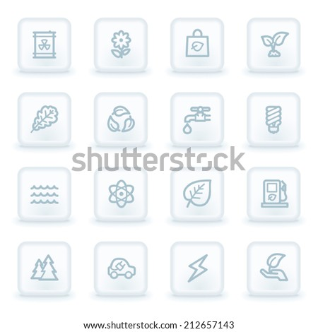 Green ecology web icon set 3, white square buttons