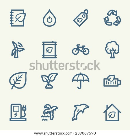 Green ecology web icons set - stock vector