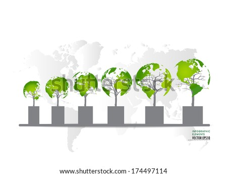 Green economy concept : Graph of growing sustainable environment with business. Vector illustration. - stock vector