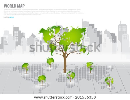 Green economy concept : Tree shaped world map with building background. Vector illustration. - stock vector