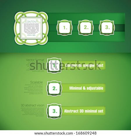 Green edition of a scalable vector design composition set of circle and rectangle composed classical architectural style buttons for numbers and content simple menu for web print or for universal use