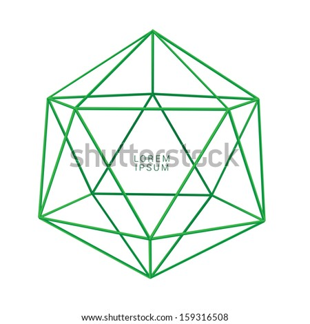 Green edition of scalable 3d vector lattice vector composition of an edgy abstract geometric minimal background or banner for layout design, for print, or for universal use - stock vector