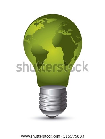 green electric bulb over white background. vector illustration