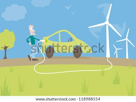 Green electric or hybrid plug-in car being charged / refueling by natural wind turbine energy with person holding plug - stock vector
