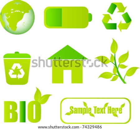 green elements vector collection