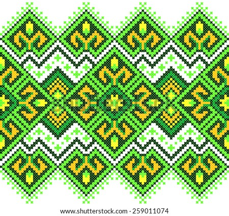 green embroidered good like handmade cross-stitch ethnic Ukraine pattern. spring color for St Patrick day - stock vector