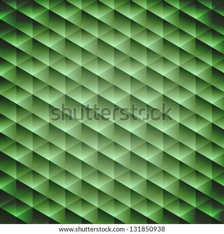 Green emerald geometric cubic background, vector illustration - stock vector