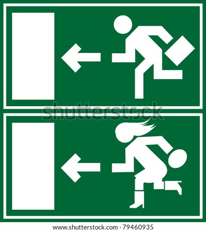 Green emergency exit sign, icon and symbol - stock vector