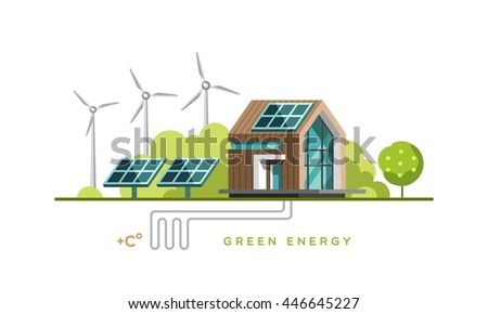 Green energy. Alternative, renewable power. Ecology. Flat design vector concept illustration.