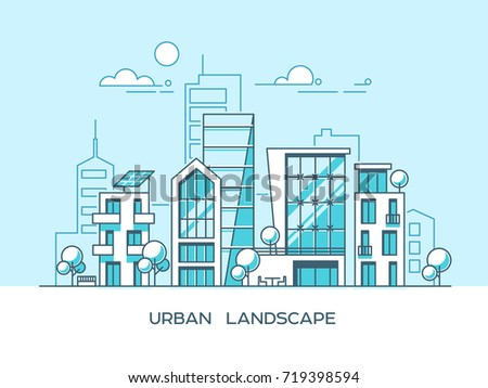Green energy and eco friendly city. Modern architecture, buildings, skyscrapers. Flat vector illustration. 3d style.