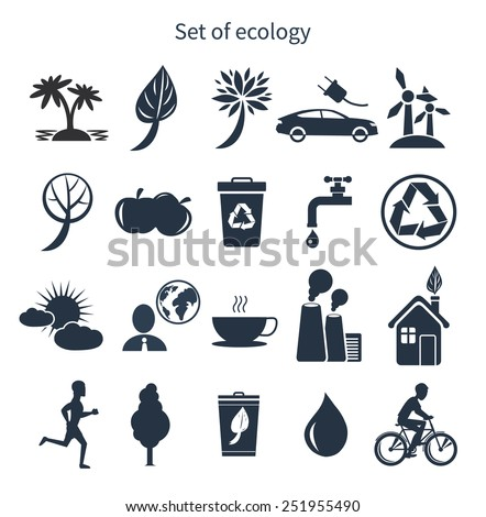 Green energy and ecology icon set in black color on white background - stock vector