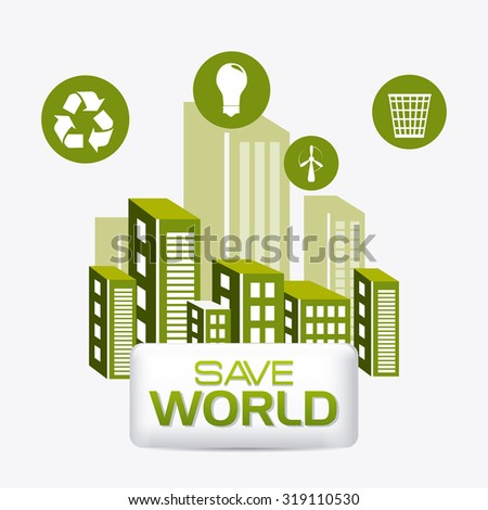 Green energy and ecology theme design, vector illustration. - stock vector