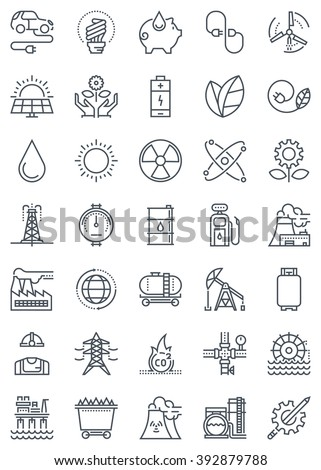 Green energy and industry icon set suitable for info graphics, websites and print media. Black and white flat line icons. - stock vector