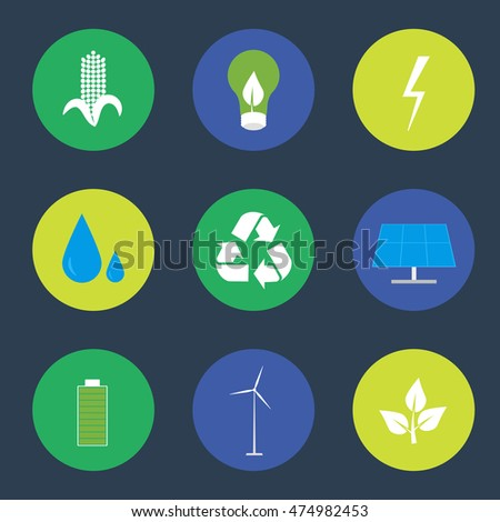 Green energy and recycling vector icons set suitable for info graphics, websites and print media. Round icons with power and ecological symbols. Eco elements collection.