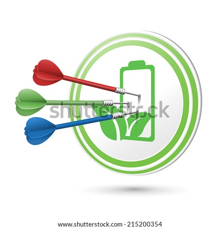 green energy battery target with darts hitting on it over white - stock vector